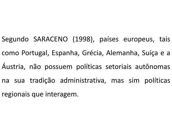Segundo SARACENO (1998), países europeus, tais como Portugal, Espanha, Grécia, Alemanha, Suíça e a Áustria, não possuem políticas setoriais autônomas na sua tradição administrativa, mas sim políticas regionais que interagem.
