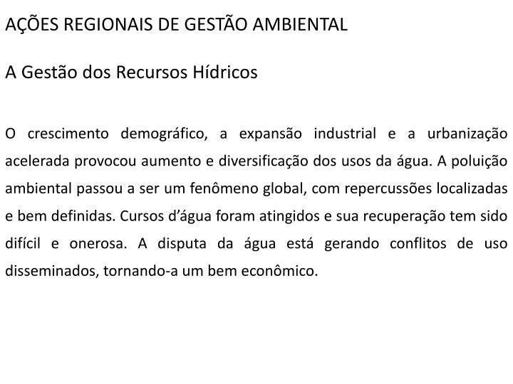 AÇÕES REGIONAIS DE GESTÃO AMBIENTAL