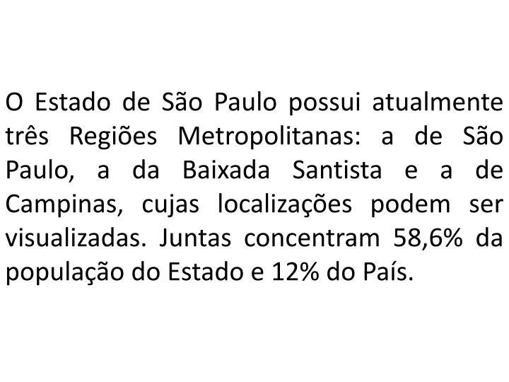 O Estado de São Paulo possui atualmente três Regiões Metropolitanas: a de São Paulo, a da Baixada Santista e a de Campinas, cujas localizações podem ser visualizadas. Juntas concentram 58,6% da população do Estado e 12% do País.