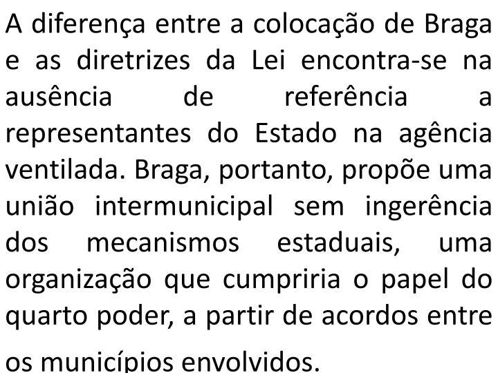 A diferença entre a colocação de Braga e as diretrizes da Lei encontra-se na ausência de referência a representantes do Estado na agência ventilada. Braga, portanto, propõe uma união intermunicipal sem ingerência dos mecanismos estaduais, uma organização que cumpriria o papel do quarto poder, a partir de acordos entre os municípios envolvidos.