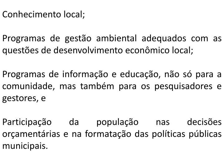 Conhecimento local;