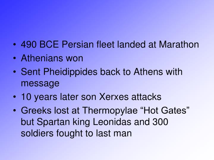 490 BCE Persian fleet landed at Marathon