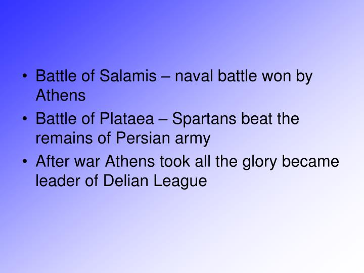 Battle of Salamis – naval battle won by Athens
