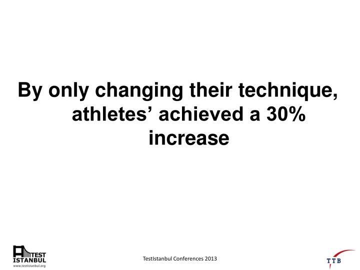 By only changing their technique, athletes' achieved a 30% increase