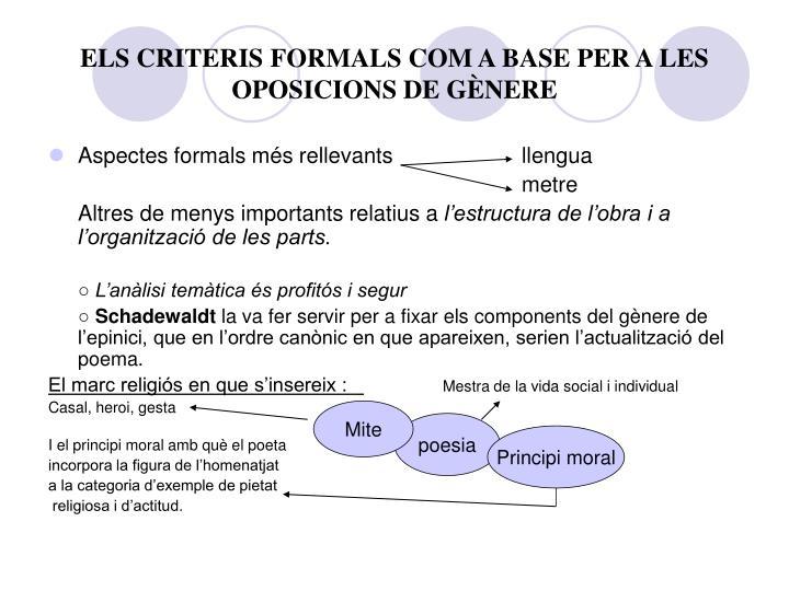 ELS CRITERIS FORMALS COM A BASE PER A LES OPOSICIONS DE GÈNERE