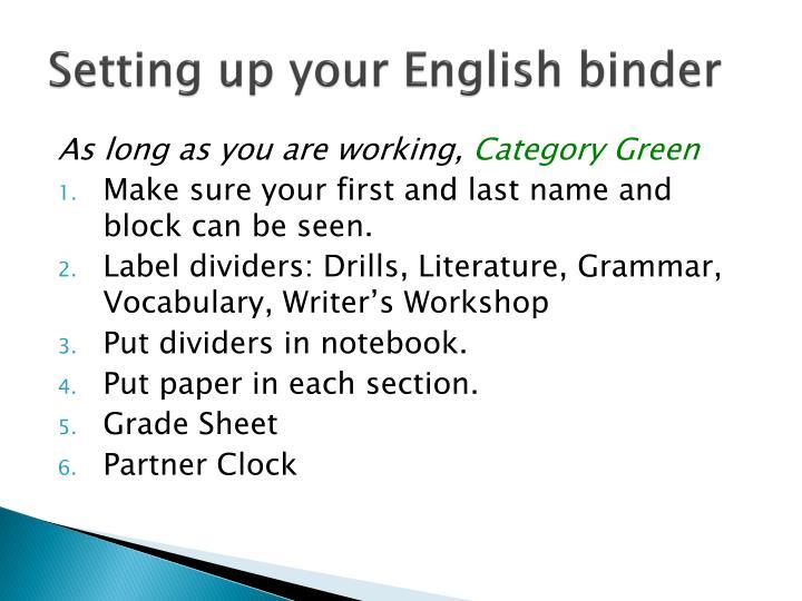 Setting up your English binder