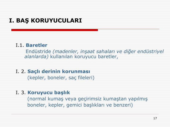 I. BAŞ KORUYUCULARI