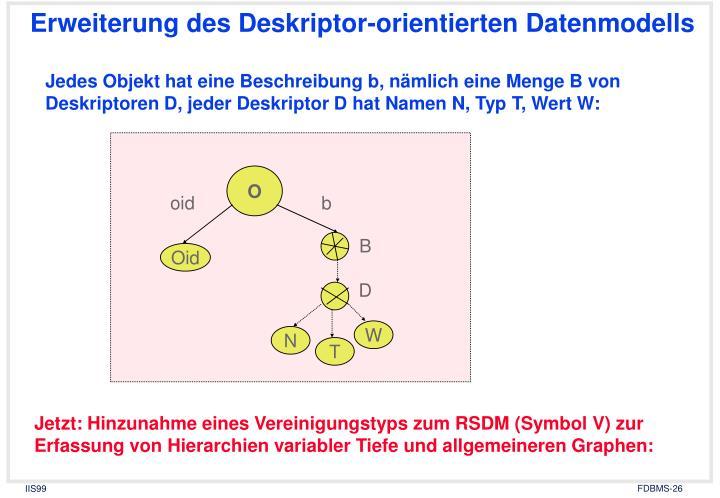 Erweiterung des Deskriptor-orientierten Datenmodells