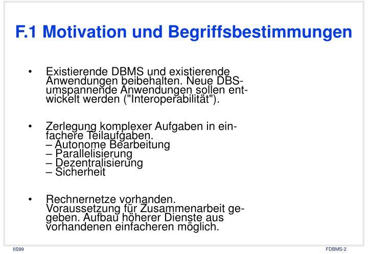 F.1 Motivation und Begriffsbestimmungen