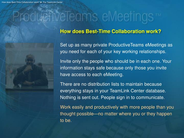 How does Best-Time Collaboration work? ► The TeamLink Center