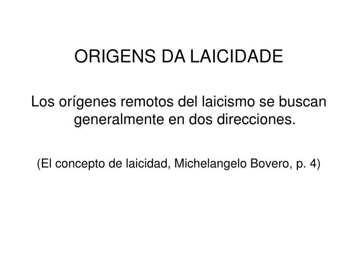 ORIGENS DA LAICIDADE