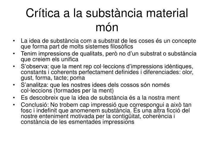 Crítica a la substància material món
