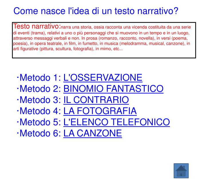 Come nasce l'idea di un testo narrativo?