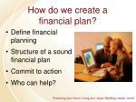 how do we create a financial plan