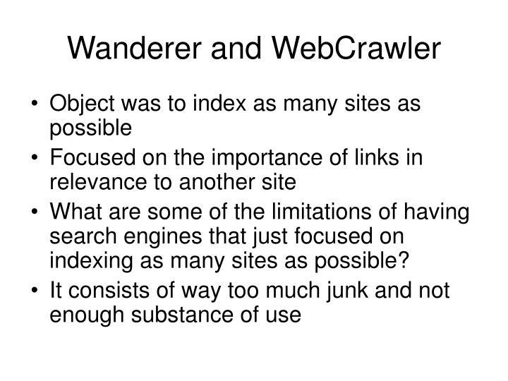 Wanderer and WebCrawler