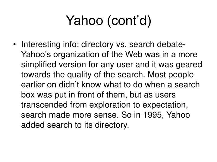 Yahoo (cont'd)