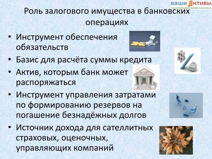 Роль залогового имущества в банковских операциях