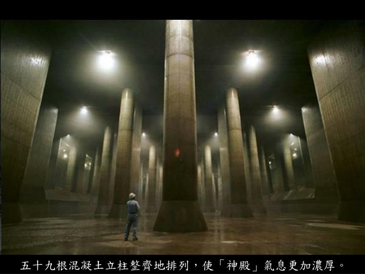 五十九根混凝土立柱整齊地排列,使「神殿」氣息更加濃厚。