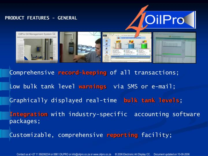 PRODUCT FEATURES - GENERAL