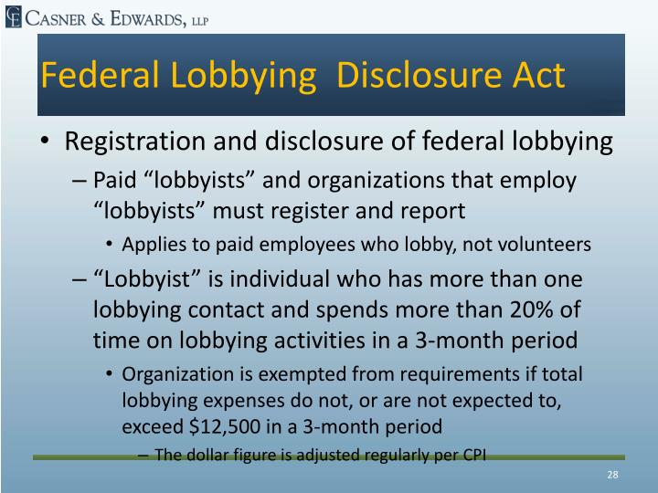 Federal Lobbying  Disclosure Act