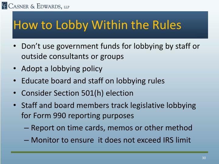 How to Lobby Within the Rules