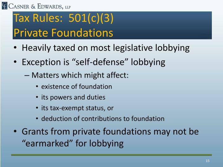 Tax Rules:  501(c)(3)