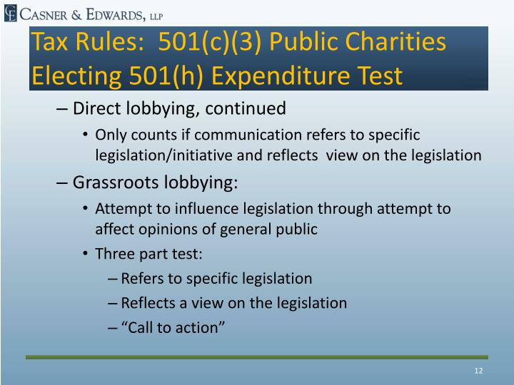 Tax Rules:  501(c)(3) Public Charities Electing 501(h) Expenditure Test