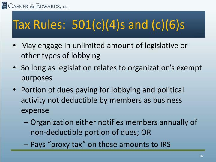 Tax Rules:  501(c)(4)s and (c)(6)s