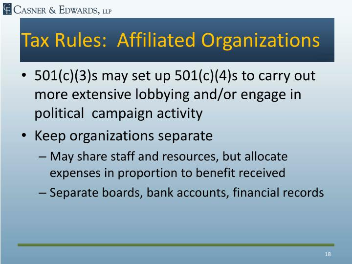 Tax Rules:  Affiliated Organizations