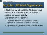 tax rules affiliated organizations