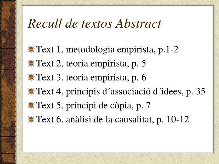Recull de textos Abstract