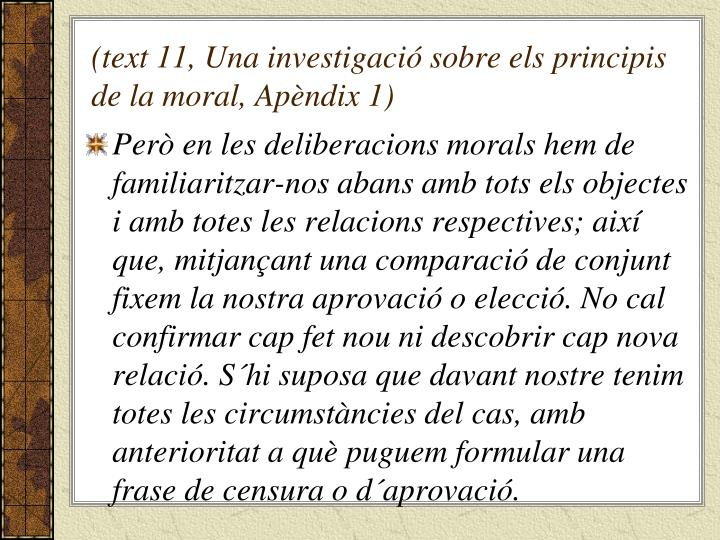 (text 11, Una investigació sobre els principis de la moral, Apèndix 1)