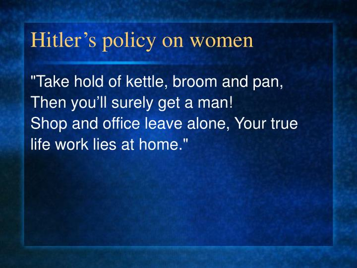 Hitler's policy on women