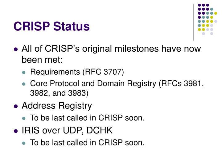 CRISP Status