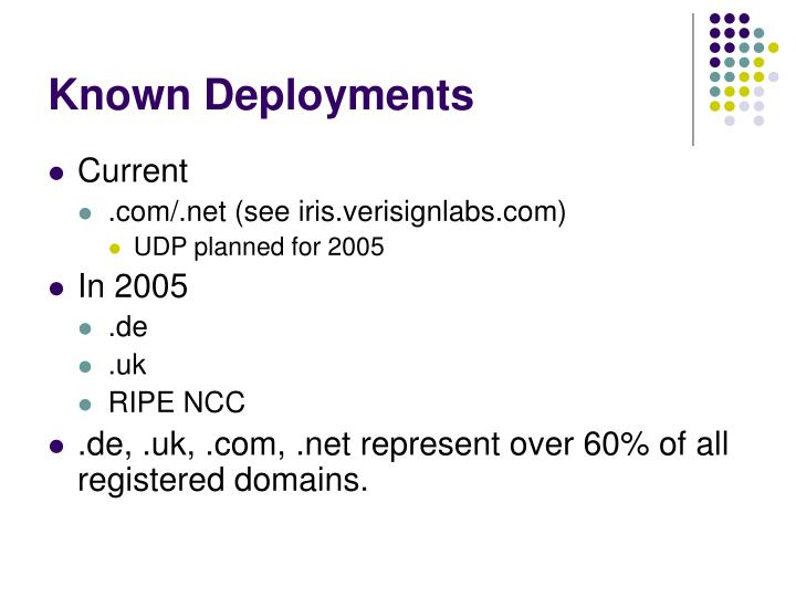 Known Deployments