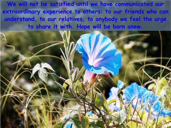 We will not be satisfied until we have communicated our extraordinary experience to others: to our friends who can understand, to our relatives, to anybody we feel the urge to share it with. Hope will be born anew.