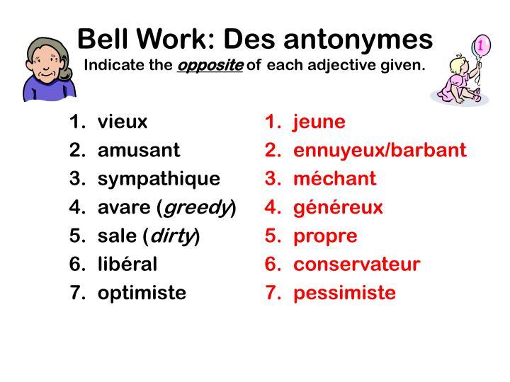 Bell Work: Des