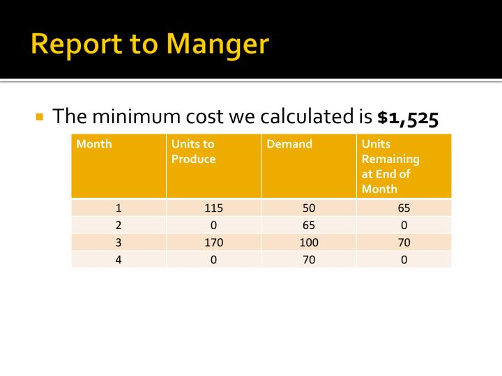 Report to Manger