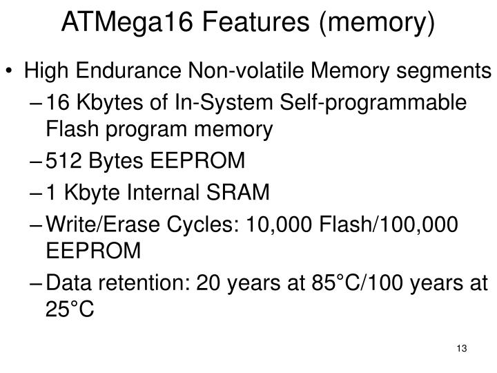ATMega16 Features (memory)
