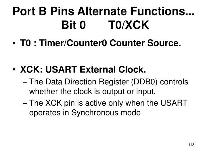 Port B Pins Alternate Functions...