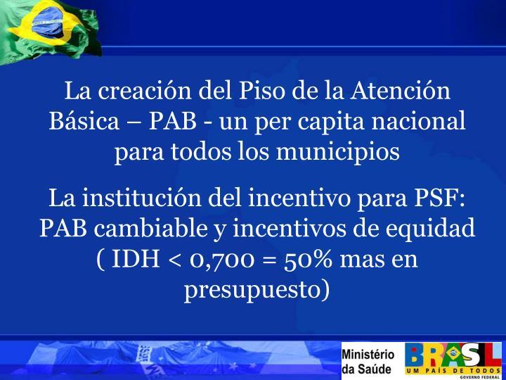 La creación del Piso de la Atención Básica – PAB - un per capita nacional para todos los municipios