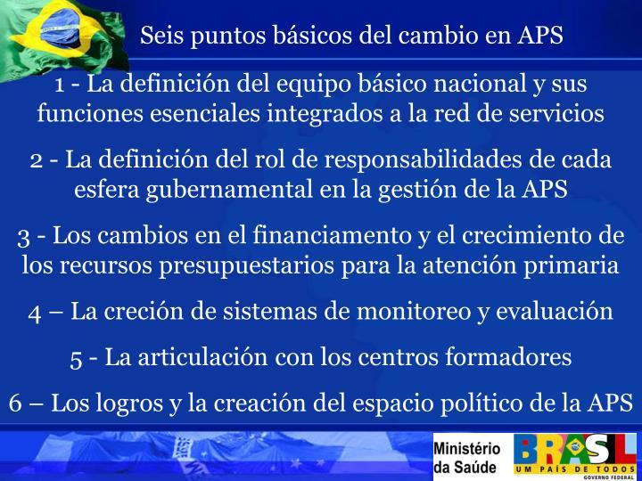 Seis puntos básicos del cambio en APS