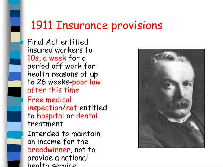 1911 Insurance provisions