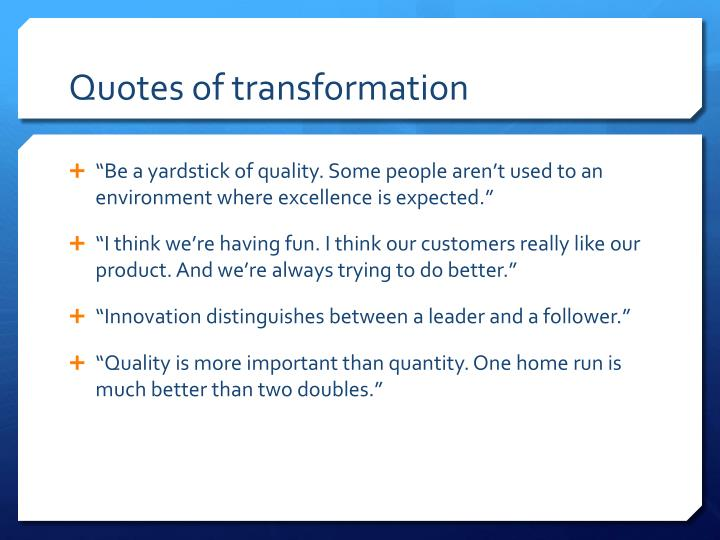 Quotes of transformation