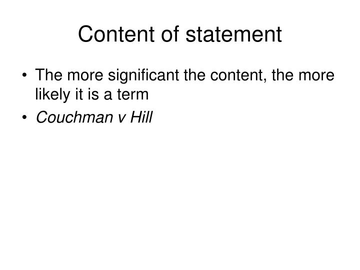 Content of statement