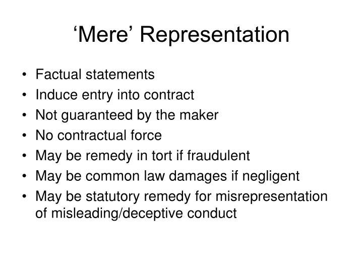 'Mere' Representation