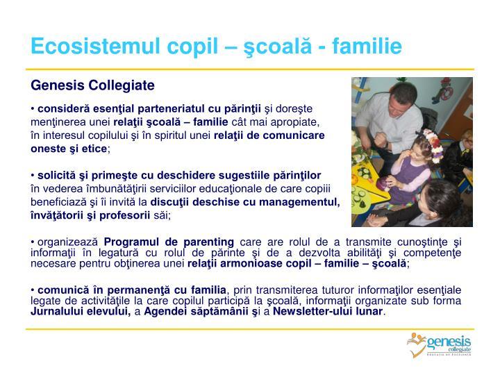 Ecosistemul copil – şcoală - familie