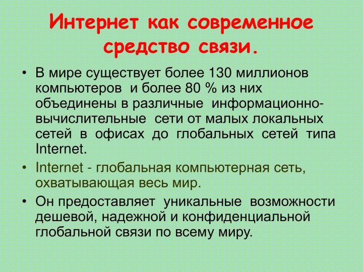 Интернет как современное средство связи.
