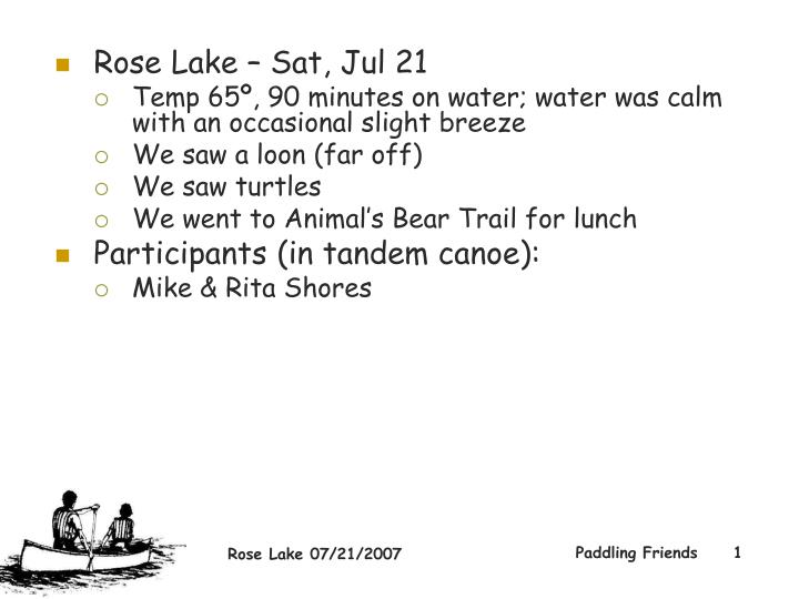 Rose Lake – Sat, Jul 21