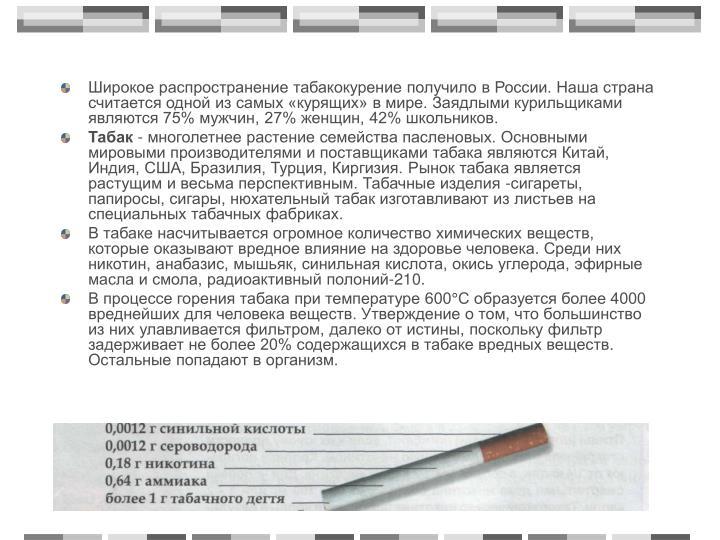 Широкое распространение табакокурение получило в России. Наша страна считается одной из самых «курящих» в мире. Заядлыми курильщиками являются 75% мужчин, 27% женщин, 42% школьников.